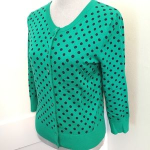 Kelly green polka dot cardigan